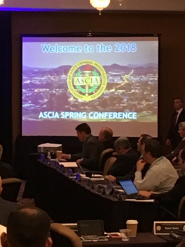 Commissioner Keith D. Squires, Colonel Brian Redd and Major Tyler Kotter recently attended the Association of State Criminal Investigative Agencies (ASCIA) conference in Phoenix, Arizona on May 7-9, 2018.