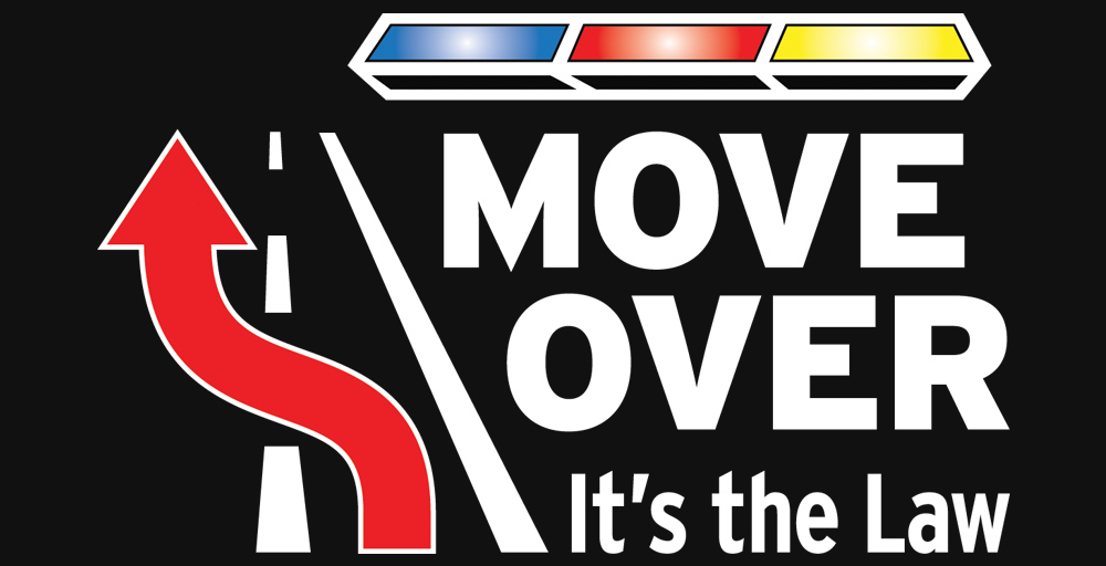 """Move over logo - shows the outlines of a travel lane with an arrow swerving from the right lane to the left and then has a police car light bar with the words """"Move over it's the law"""" underneath it."""