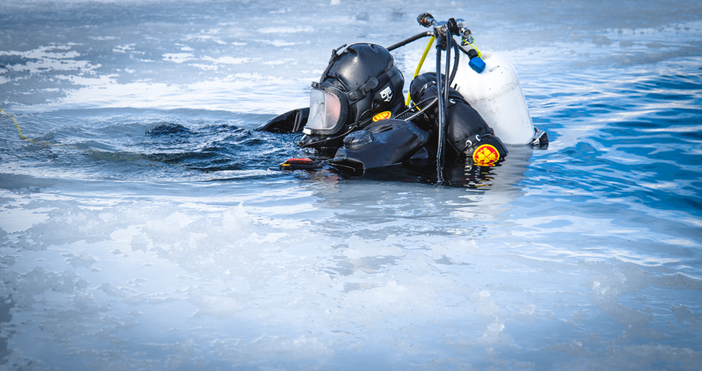 DPS Dive Team member prepares to exit the water.