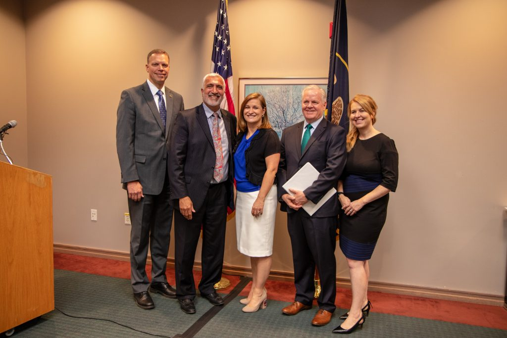 Department of Public Safety Commissioner Jess Anderson; District Attorney Sim Gill; Salt Lake County Mayor Jenny Wilson; Utah State Bar President Dickson Burton and Utah State Bar Heather Farnsworth);