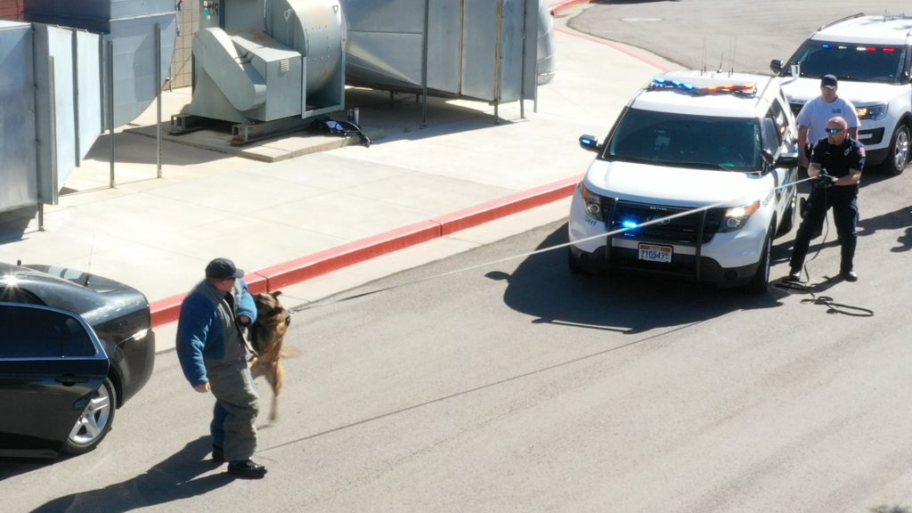K9 Ranger bites and pulls the cadet wearing the bite suit back to the WVCPD vehicle.