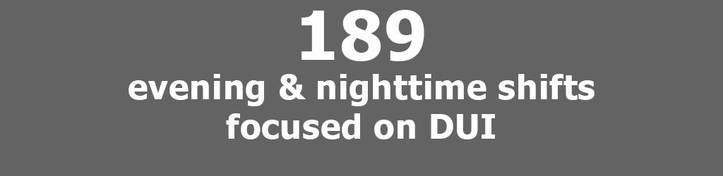 Tile with grey background that reads 189 evening and nighttime shifts focused on DUI