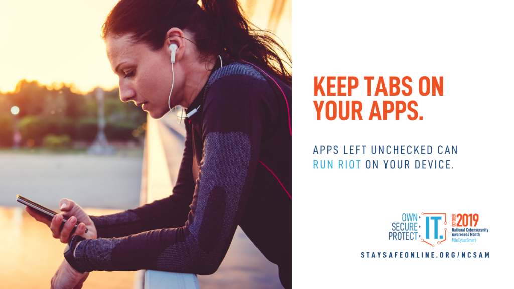 Image shows a woman standing on a bridge holding a cell phone. Text reads: Keep tabs on your apps. Apps left unchecked can run riot on your device.