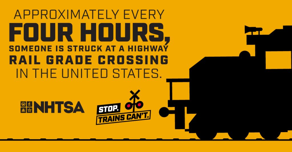 "Image shows the animated front of a train with the text reading ""Approximately every four hours, someone is struck at a highway rail grade crossing in the United States."""