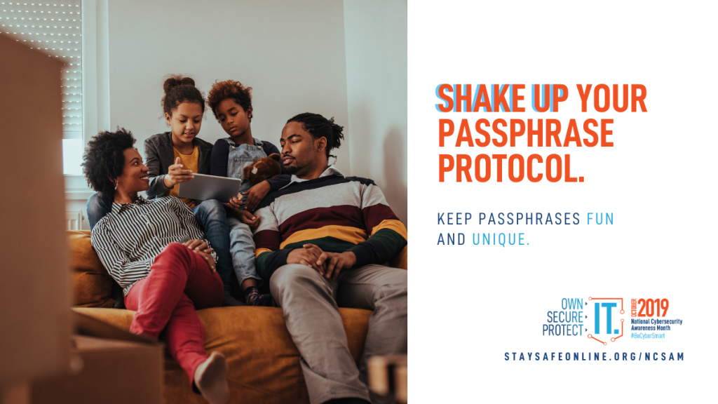 Image shows a mom, dad and two kids sitting on a couch holding a tablet. Text reads share up your passphrase protocol. Keep passphrase fund and unique.