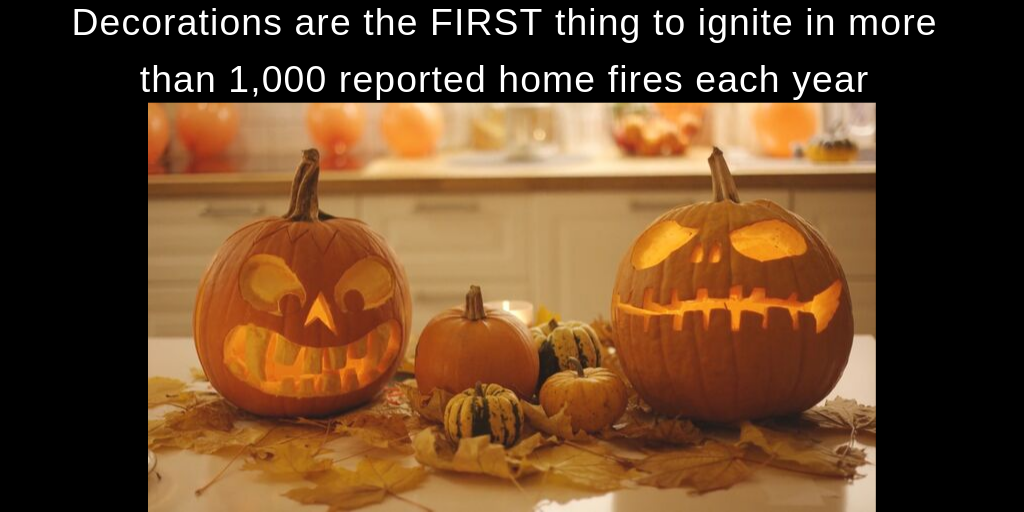 Image shows two carved jack o lanterns on a table with other smaller decorative pumpkins and text reads Decorations are the first thing to ignite in more than 1,000 reported home fires a year.