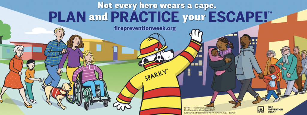 "Animated image shows Sparky the fire dog waving to people as they walk toward him. The people are of different ages and races. The text reads ""Not every hero wears a cape. Plan and practice your escape firepreventionweek.org"""