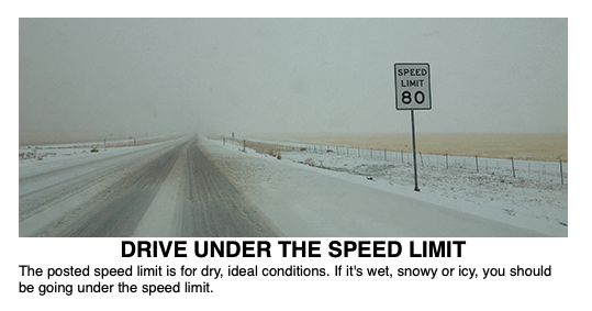 Drive Under the Speed Limit - The posted speed is for dry, ideal conditions. If it's wet, snowy or icy, you should be going under the speed limit.