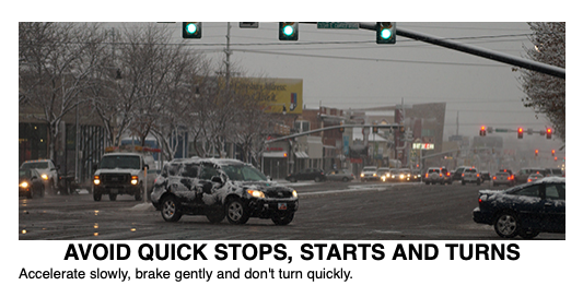 """Image shows cars turning left on a snowy road. Text reads """"Avoid quick stops, starts and turns. Accelerate slowly, brake gently and don't turn quickly."""""""