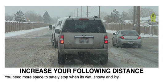 """Image shows cars stopped in snow. Text reads """"Increase your following distance, You need more space to safely stop when it's wet, snowy and icy"""""""