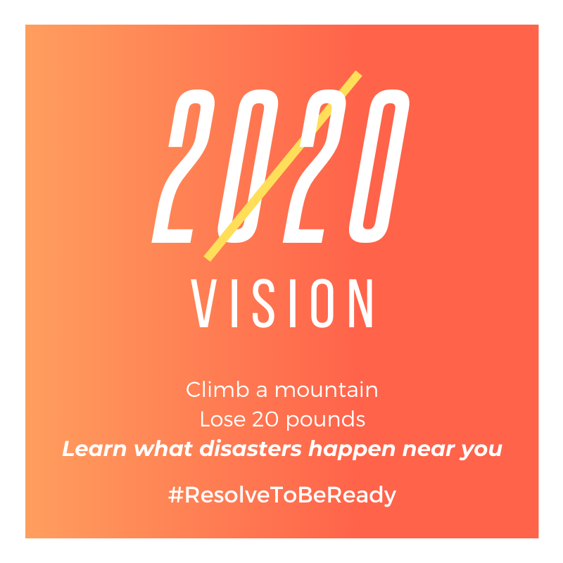 To have 2020 vision in 2020 you could climb a mountain, lose 20 pounds or learn what disasters can happen near you