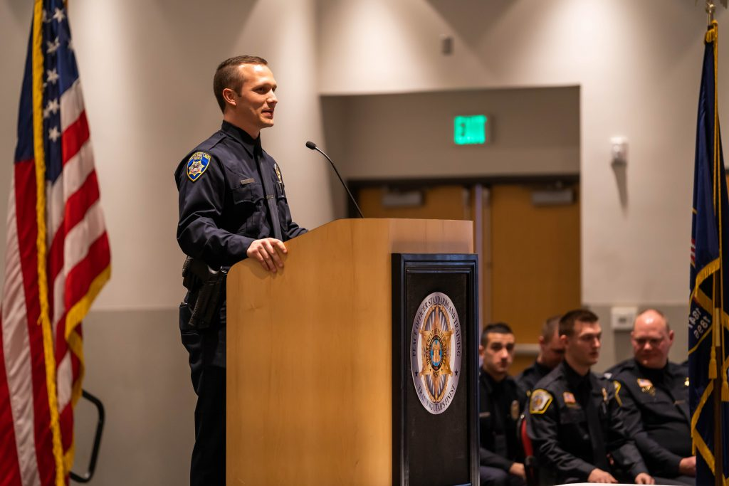 New South Salt Lake PD Officer Ahlborn delivers the class response.