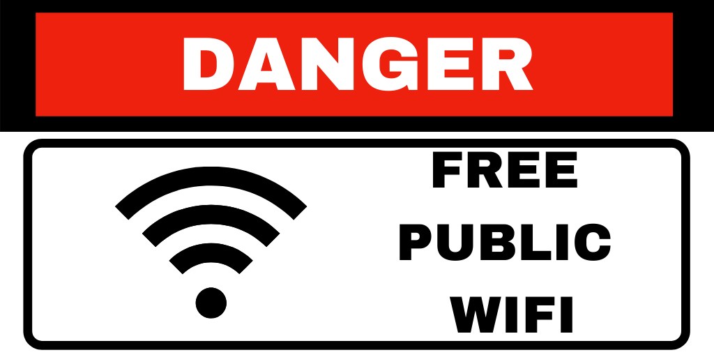 """Animated sign says """"Danger Free Public WiFi"""""""
