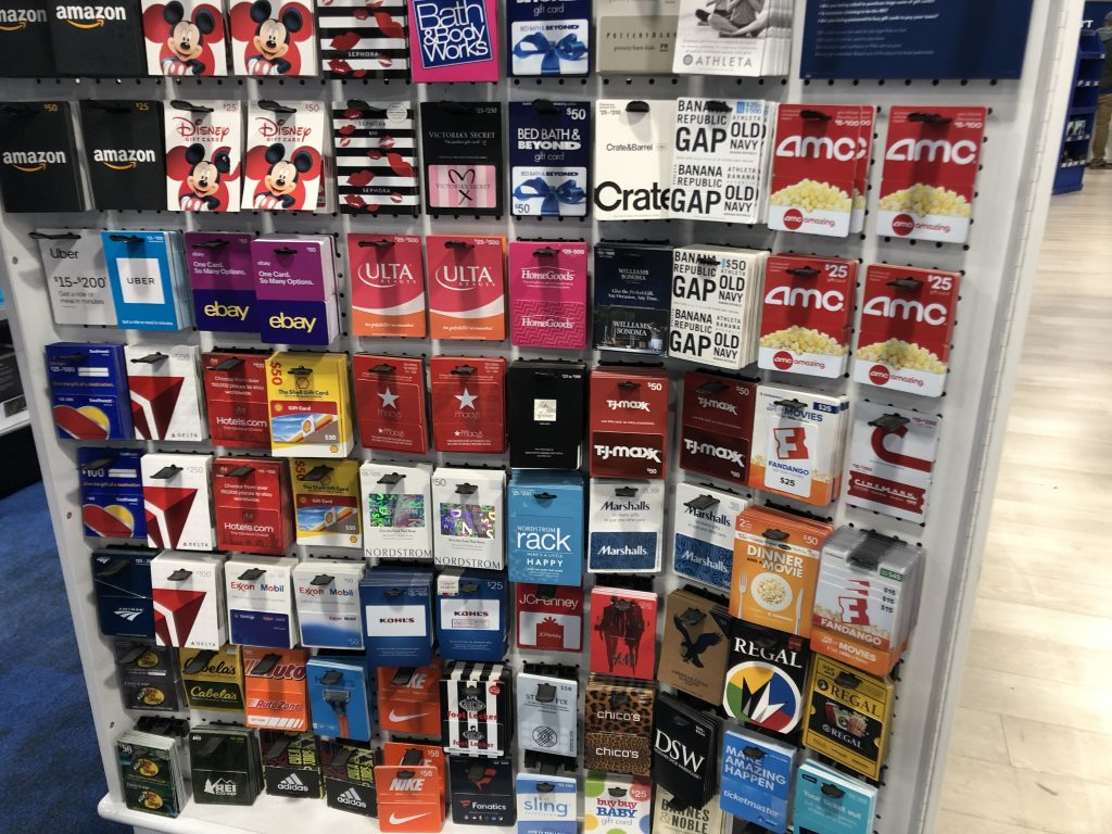 Image shows a 4 foot high display featuring all kinds of different gift cards.