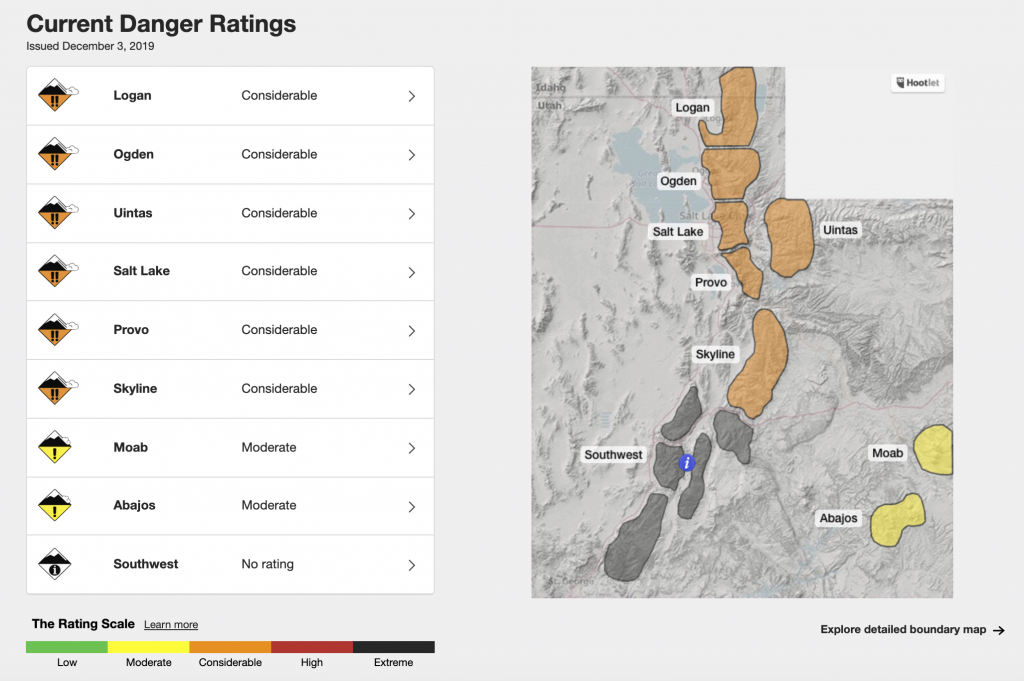 A map of utah depicting considerable avalanche conditions for various backcountry areas of