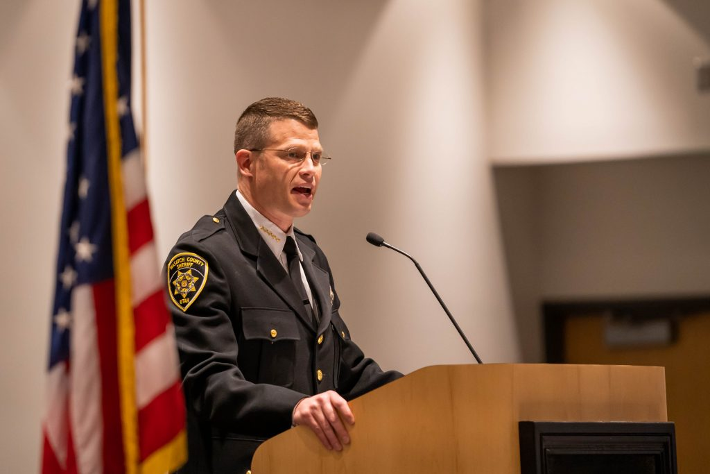 Wasatch County Sheriff Jared Rigby delivers the keynote address.