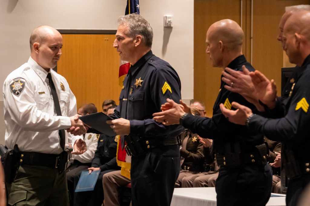This new officer received the outstanding firearms award.