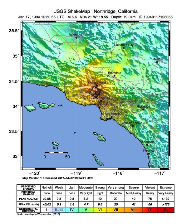 a shakemap of the 1994 northridge earthquake that shows greater intensity near the epicenter of reseda, california and lesser intensity throughout southern california.
