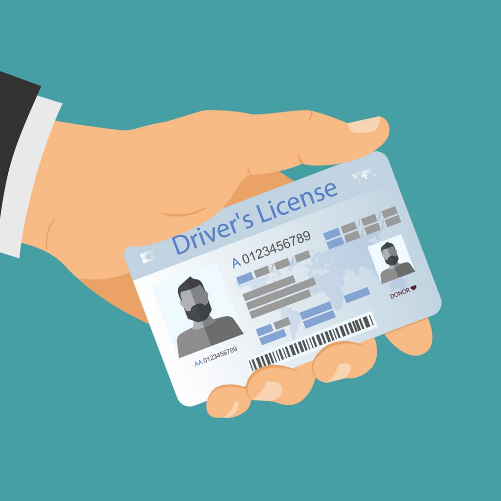 Animated drawing of a hand holding a driver license.