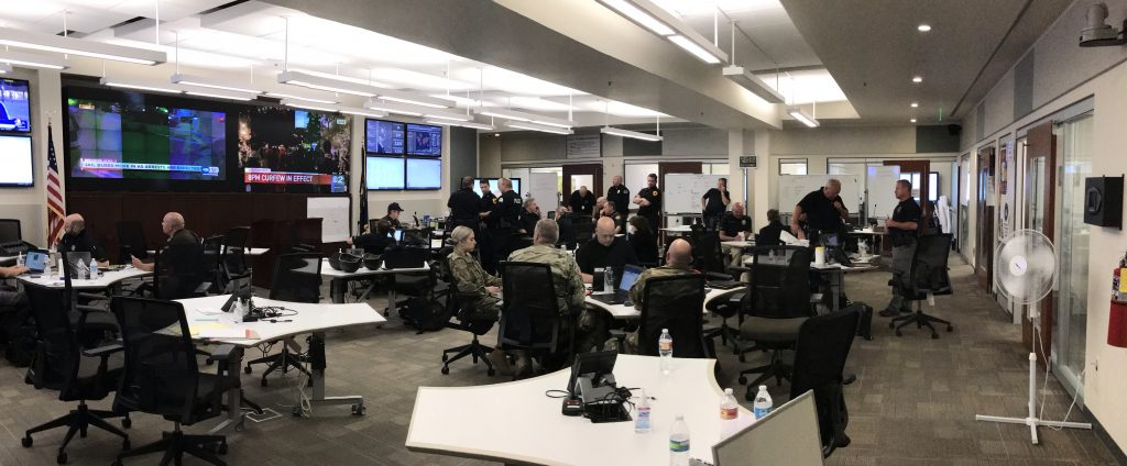 Staff in the State Emergency Operations Center
