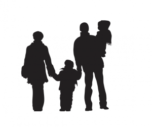 Silhouette of mother, child father holding another child.