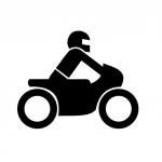 Icon of a profile of a person on a motorcycle.