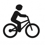 Icon of a person on bicycle