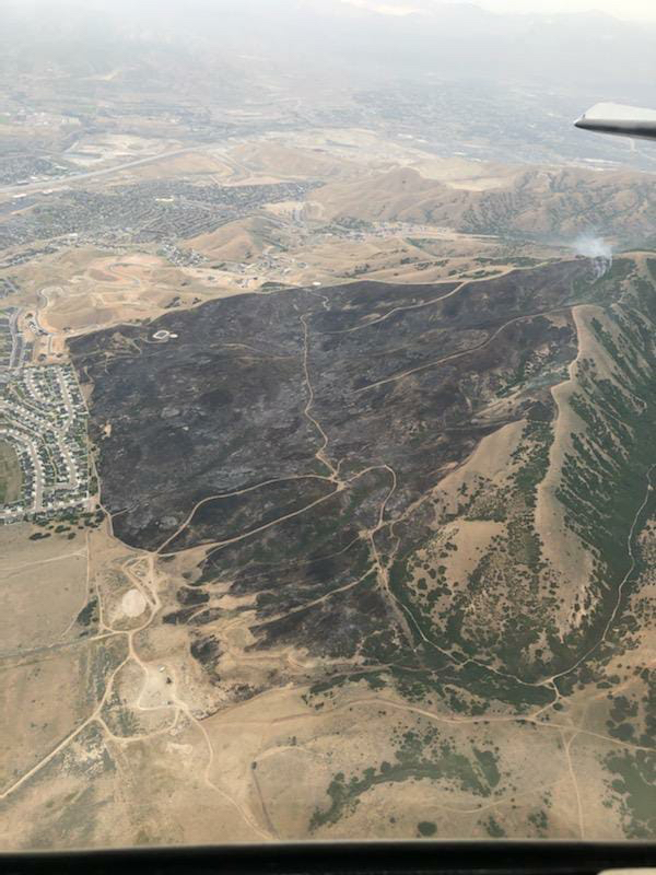burned area from traverse fire in June 2020