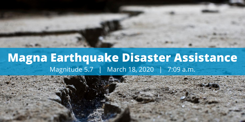 """Image shows a crack in the road and text reads """"Earthquake Disaster Assistance"""""""