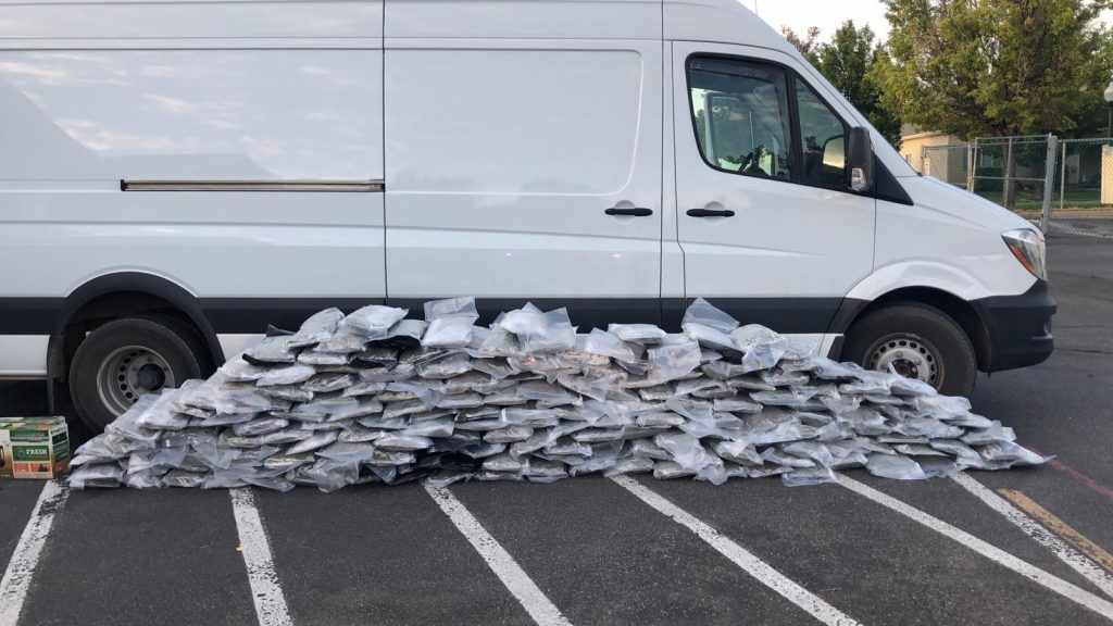 Profile of a white sprinter van with a hundred or so clear plastic packages filled with marijuana.