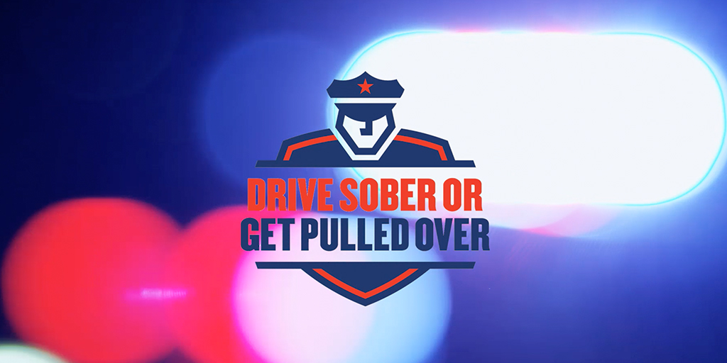 Blurred police lights with the Drive Sober or Get Pulled Over logo.