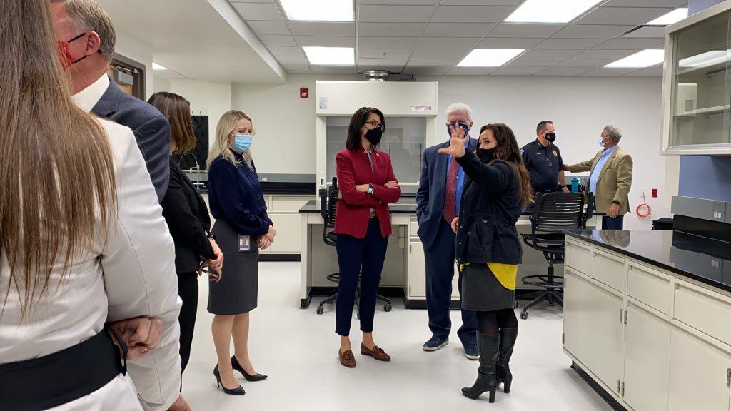 Crime Lab Manager Jennifer Mc Nair, Lt. Governor Henderson, Senator Ipson and Crime Lab Director Amy Lightfoot discuss the new lab.