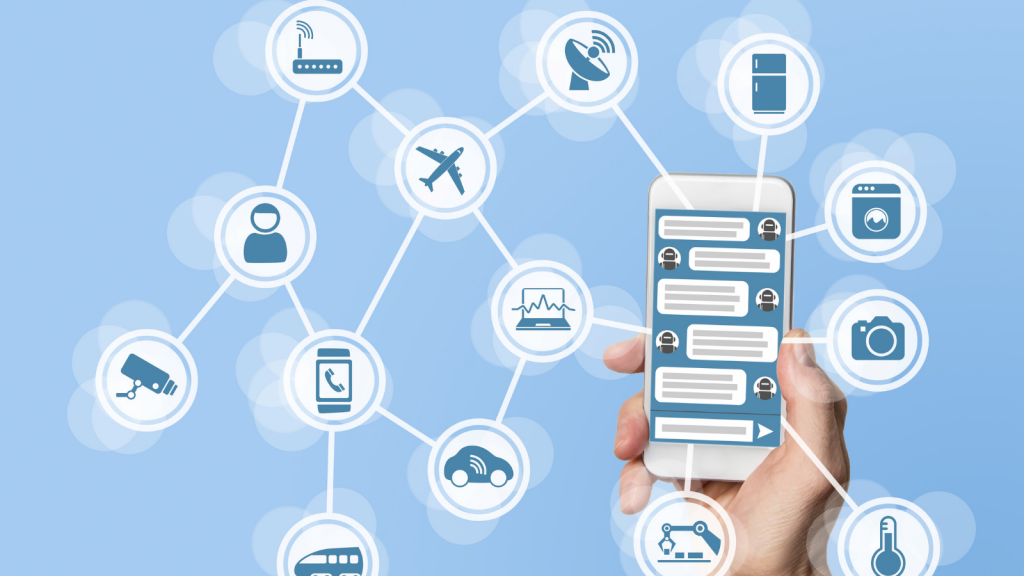 image shows a hand holding a smart phone and then icons of items and devices that can be connected through wifi.