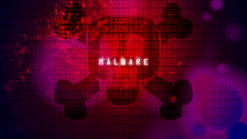 Background is red and purple and has zeros and ones on it and there is an animated outline of a skill on all of it and text reads malware.