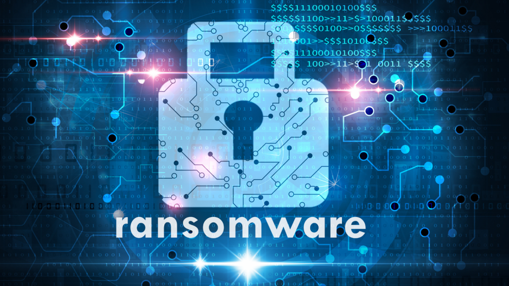 """Image shows an animated lock in blue with text reading """"ransomware"""""""